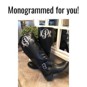 Monogrammed Boots 7, 8.5, 9.5, 11